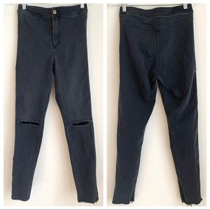 H&M Black Skinny High Waist Distressed Ankle Jeans